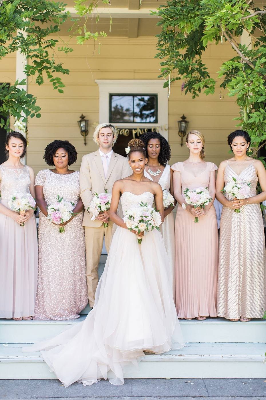 blush and champagne bridal party