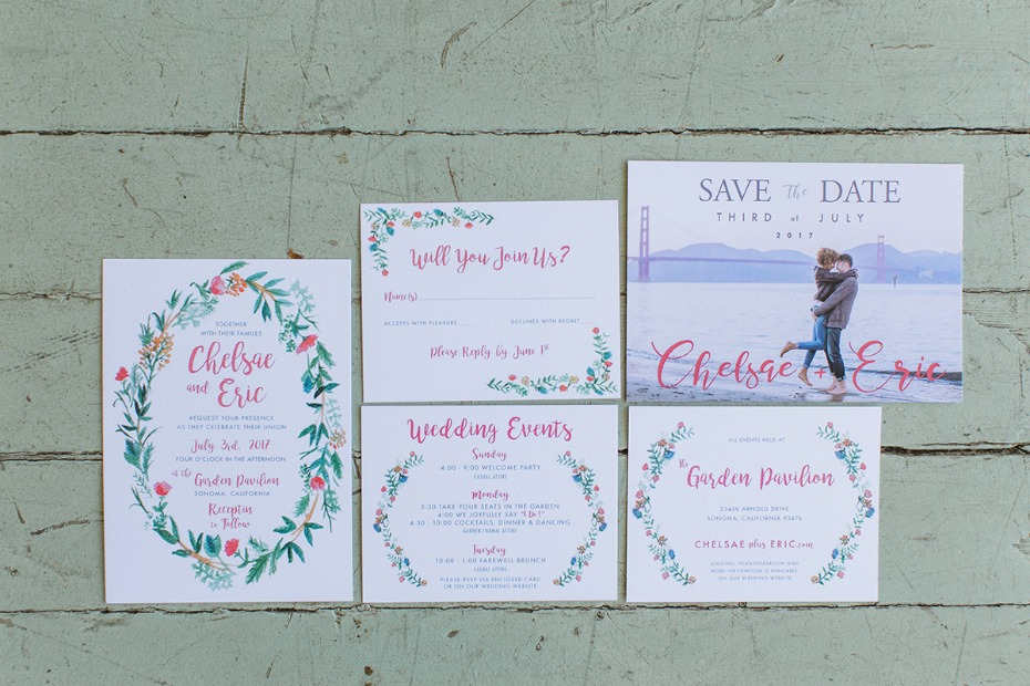 floral wreath wedding stationery