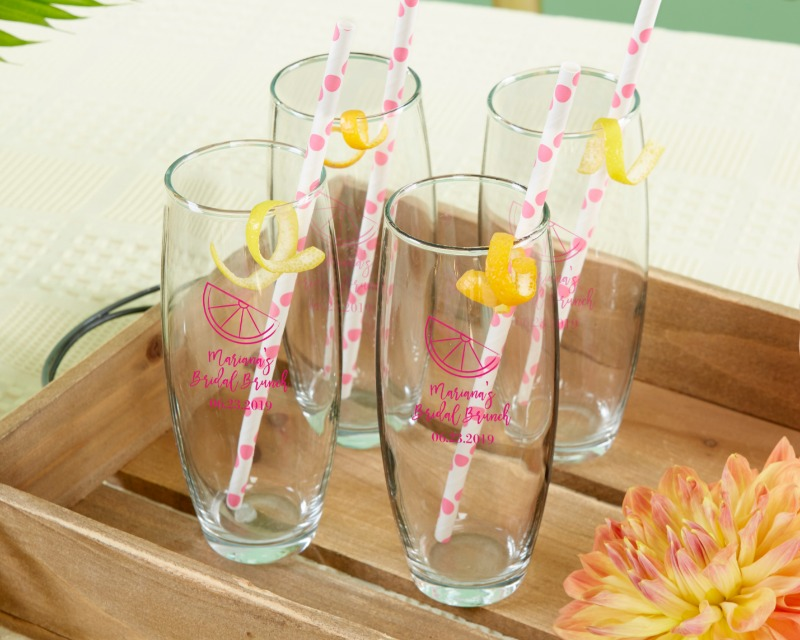 Pop the top and add some cheer to your wedding or bridal shower with Kate Aspen's Cheery and Chic Stemless Champagne Glasses. Each