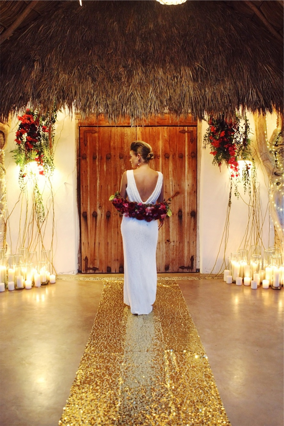 tropical and glamorous candle lit wedding ceremony in Mexico
