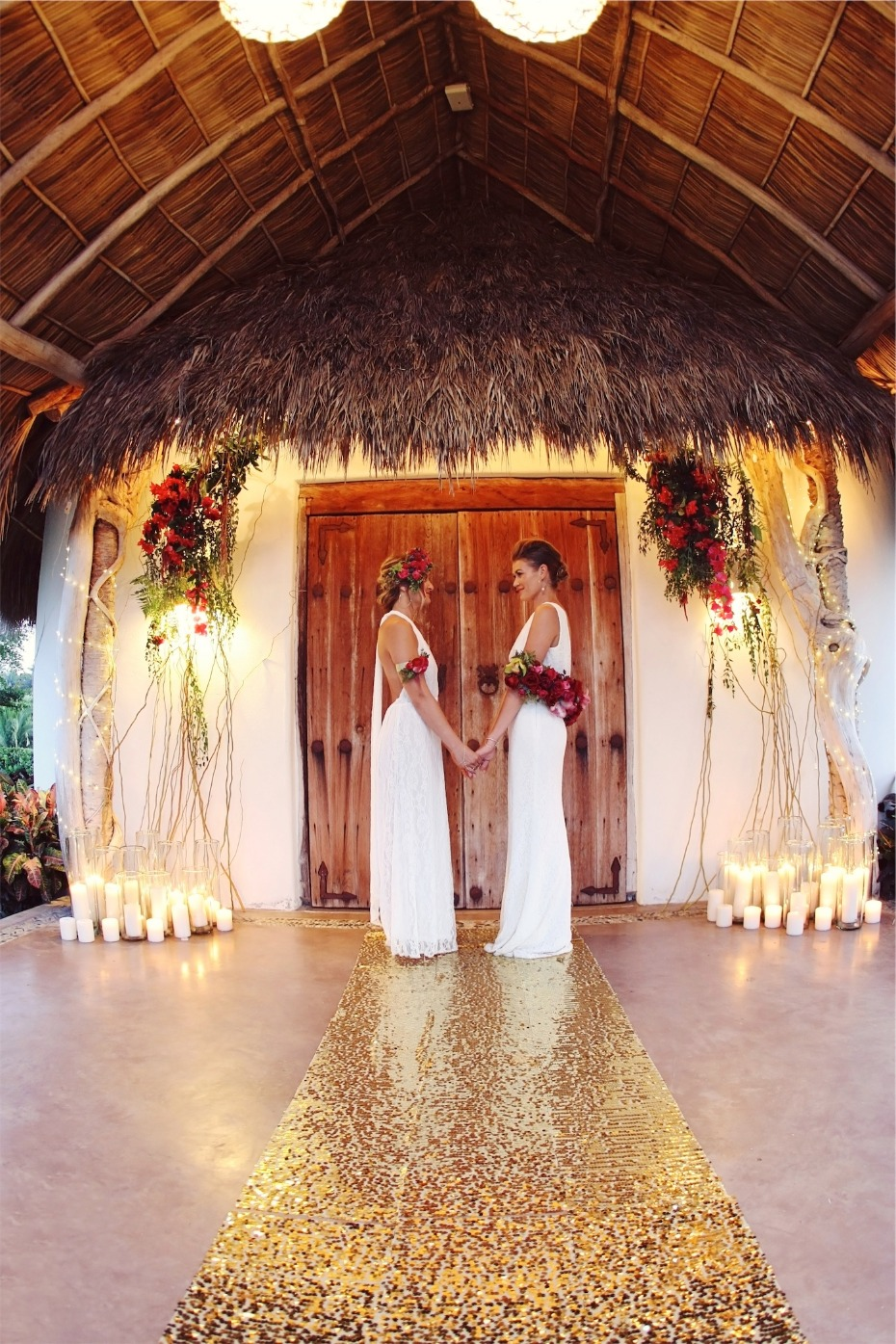 gold glowing wedding ceremony for two