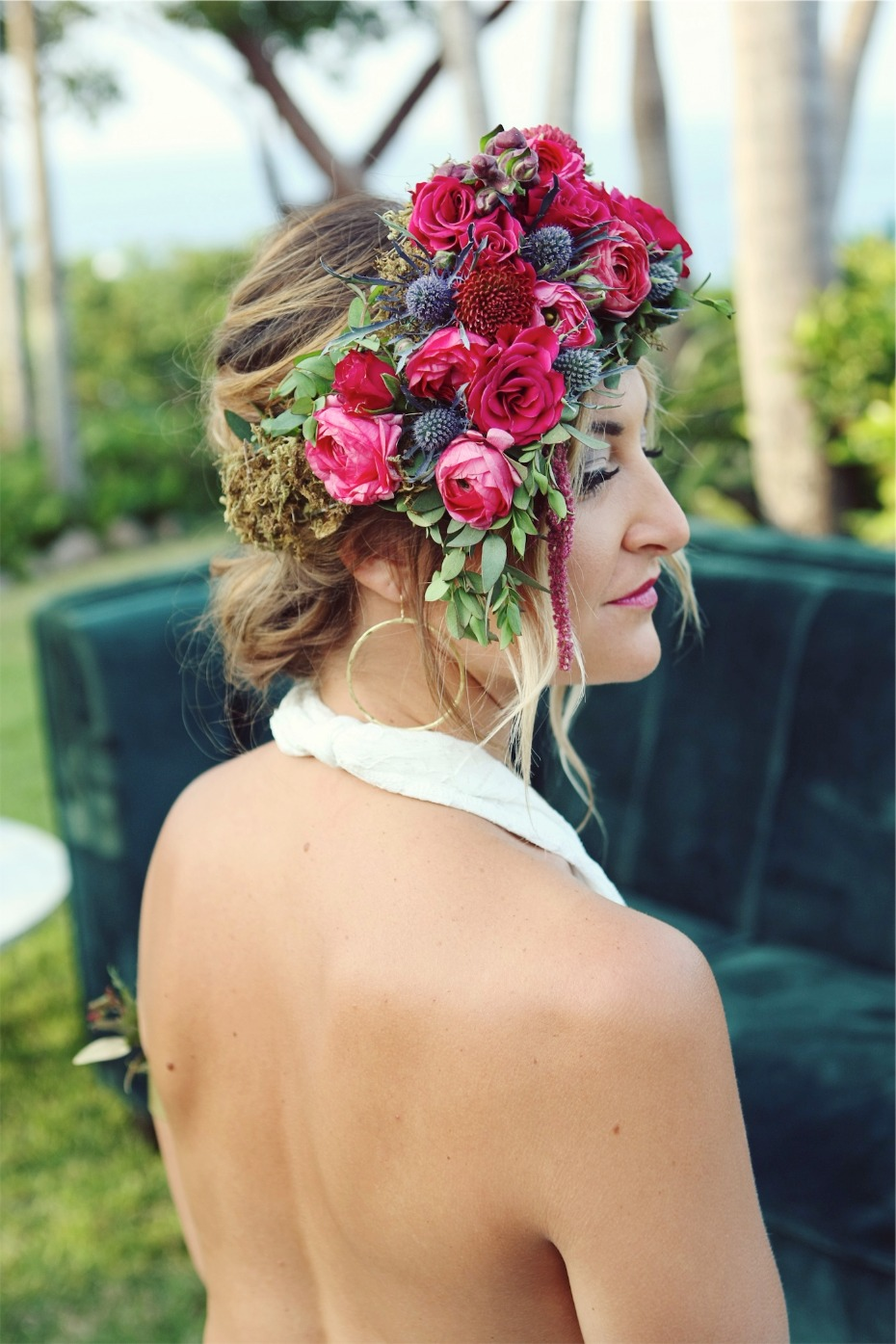 pink and blue wedding floral halo