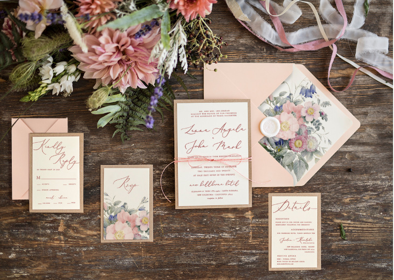 Peach wedding invitations with floral printing