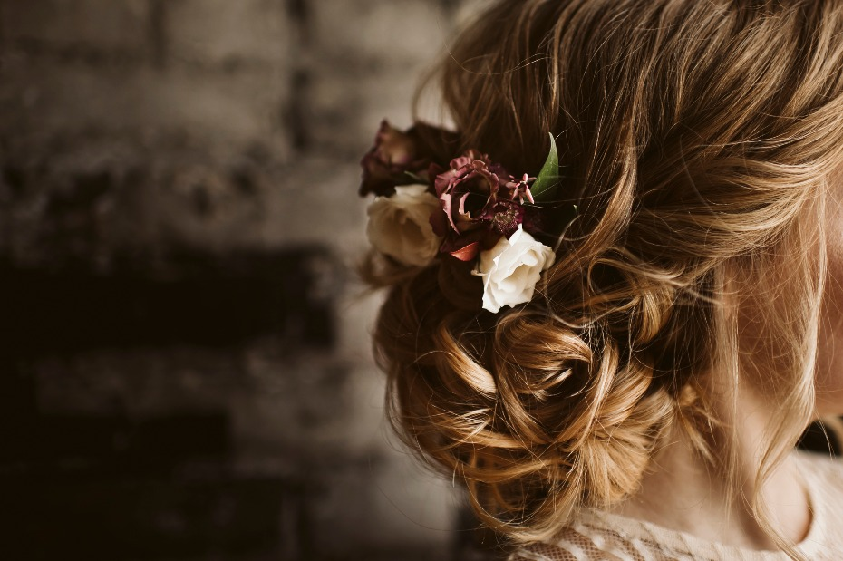 Floral accent in hair