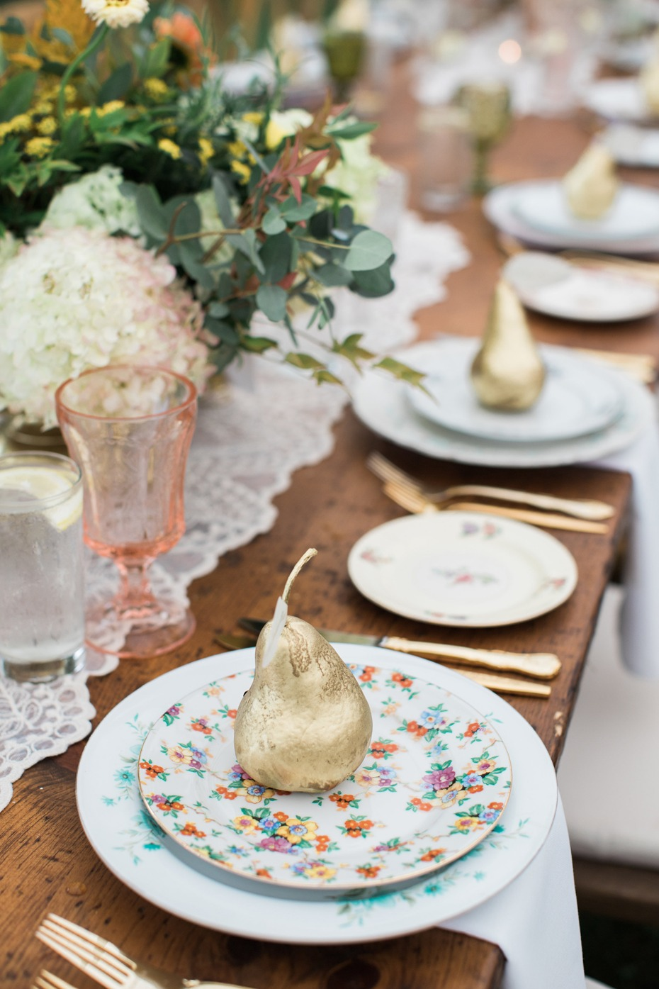 gold pears and floral mismatch china