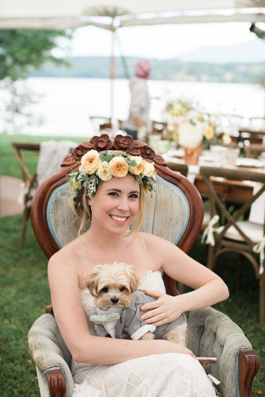 the bride and her formally dressed dog Frank