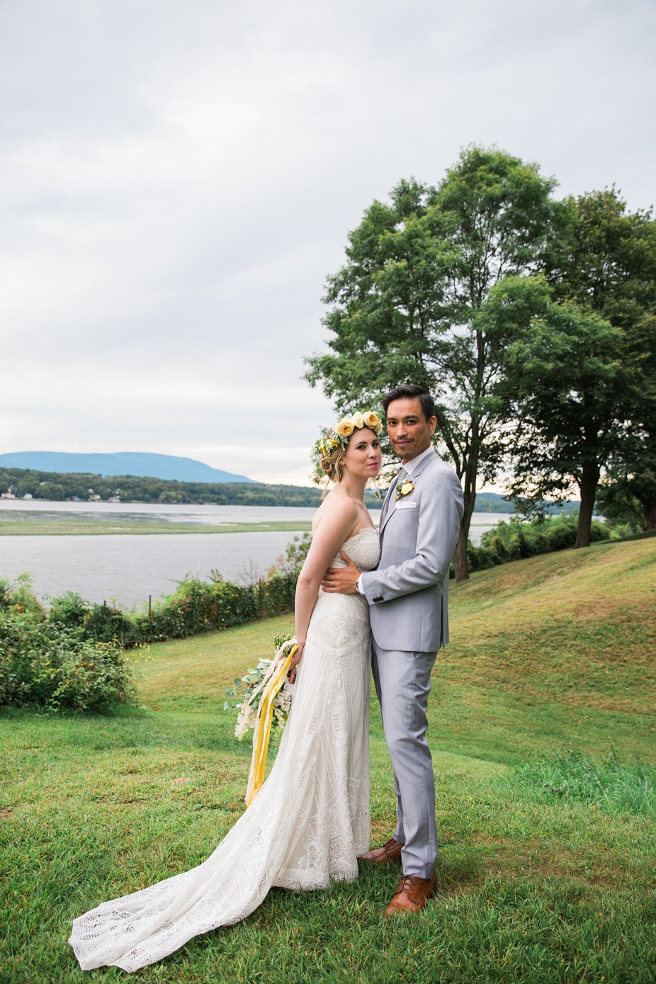 late summer bride and groom on the shore of the Hudson River
