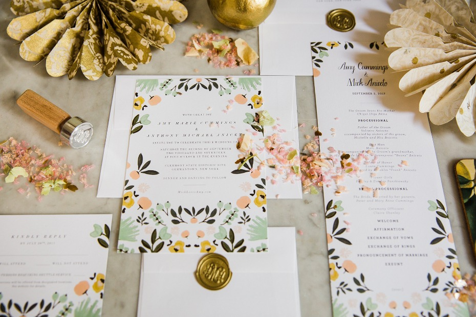 floral inspired wedding stationery