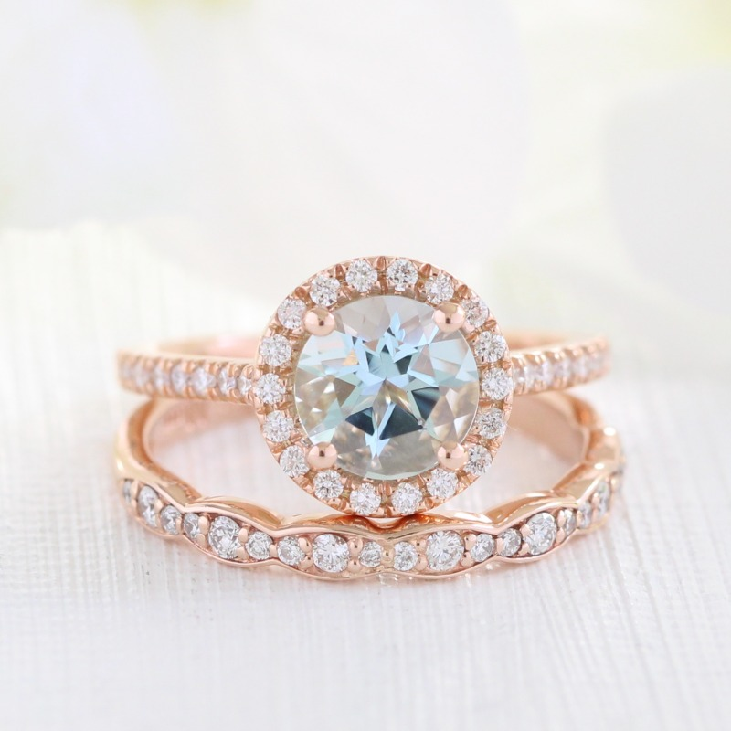 Shop March Birthstone Aquamarine Bridal Sets from La More Design ~