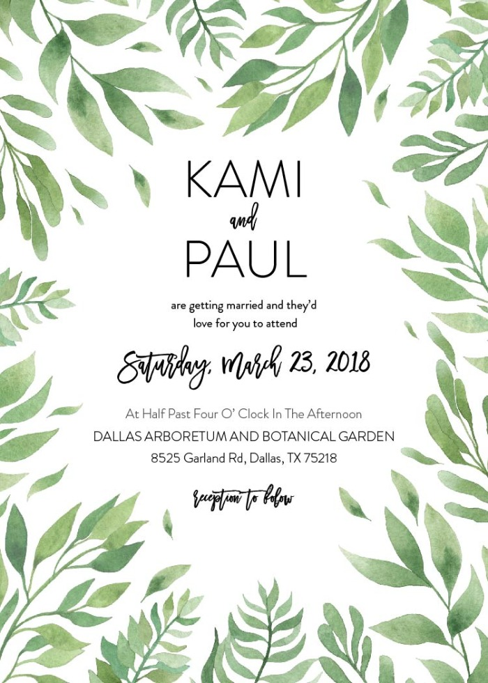 Print: Free Leaf Wedding Invitation