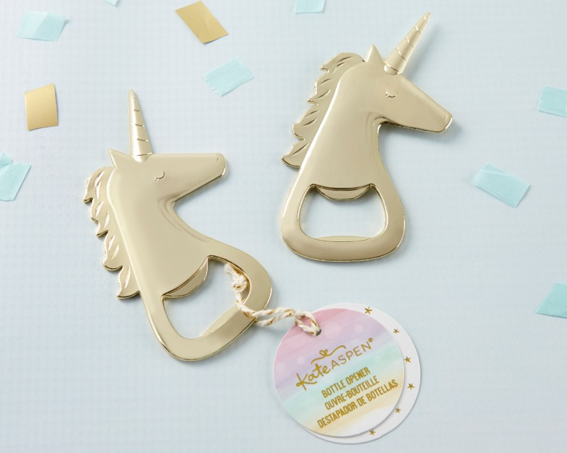 Kate Aspen's Gold Unicorn Bottle Opener is perfect for popping the top on fun at your bridal shower or bachelorette party. Guests will