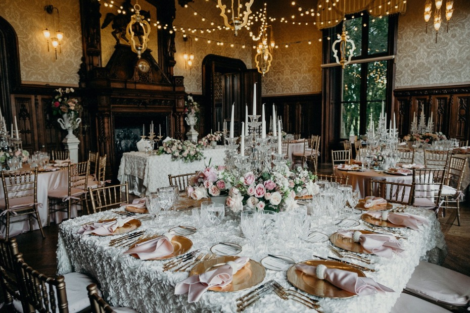 wedding reception with all the perfect details at Chateau Challain