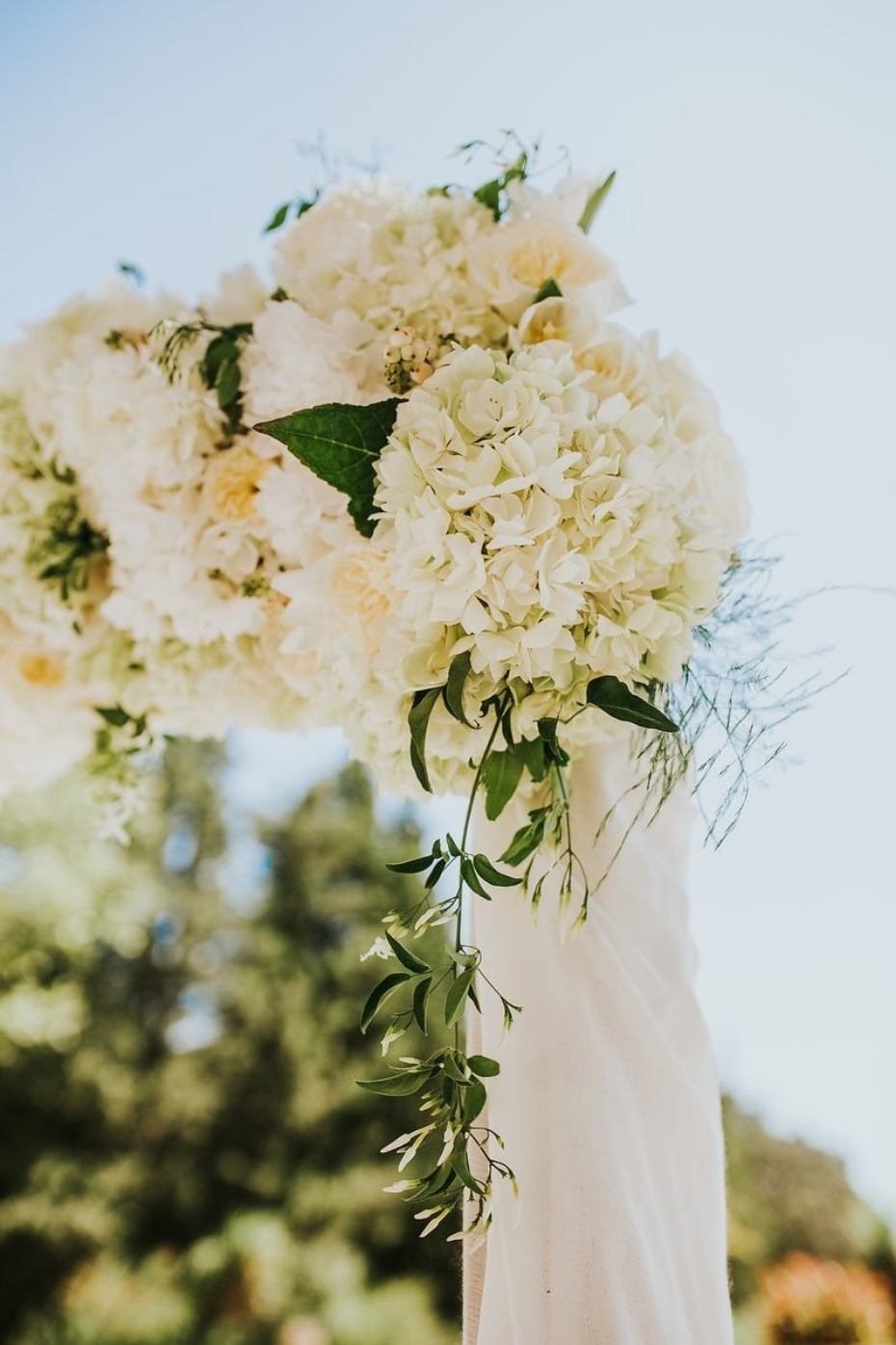 simple all white wedding florals