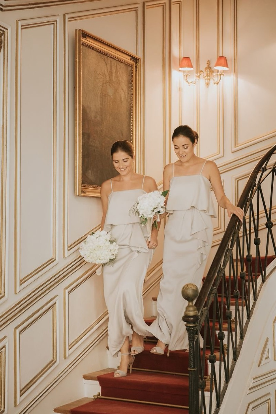 bridesmaids in chic champagne gowns