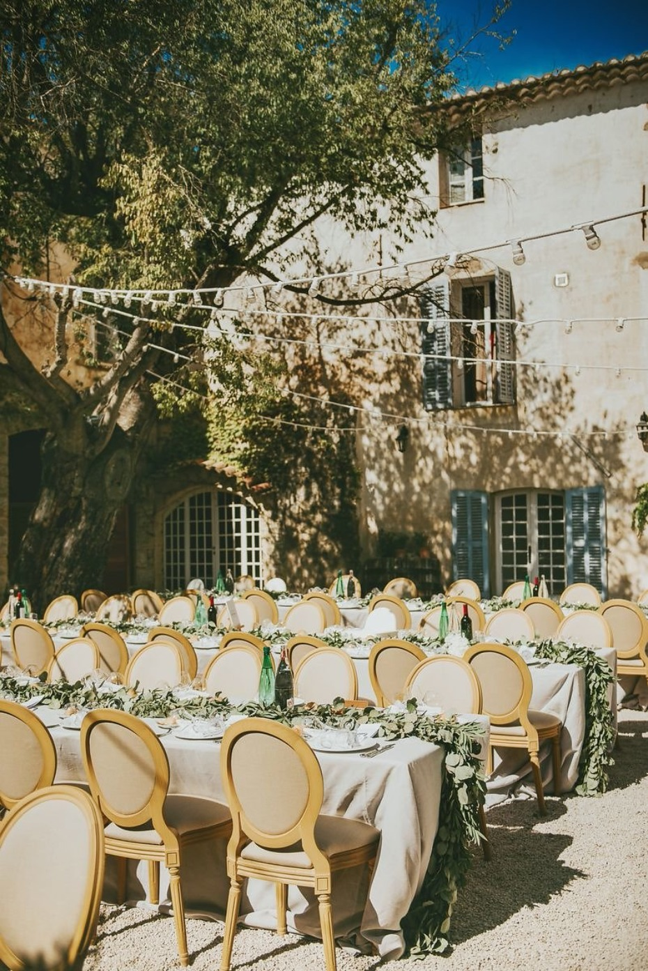 outdoor French Chateau wedding reception