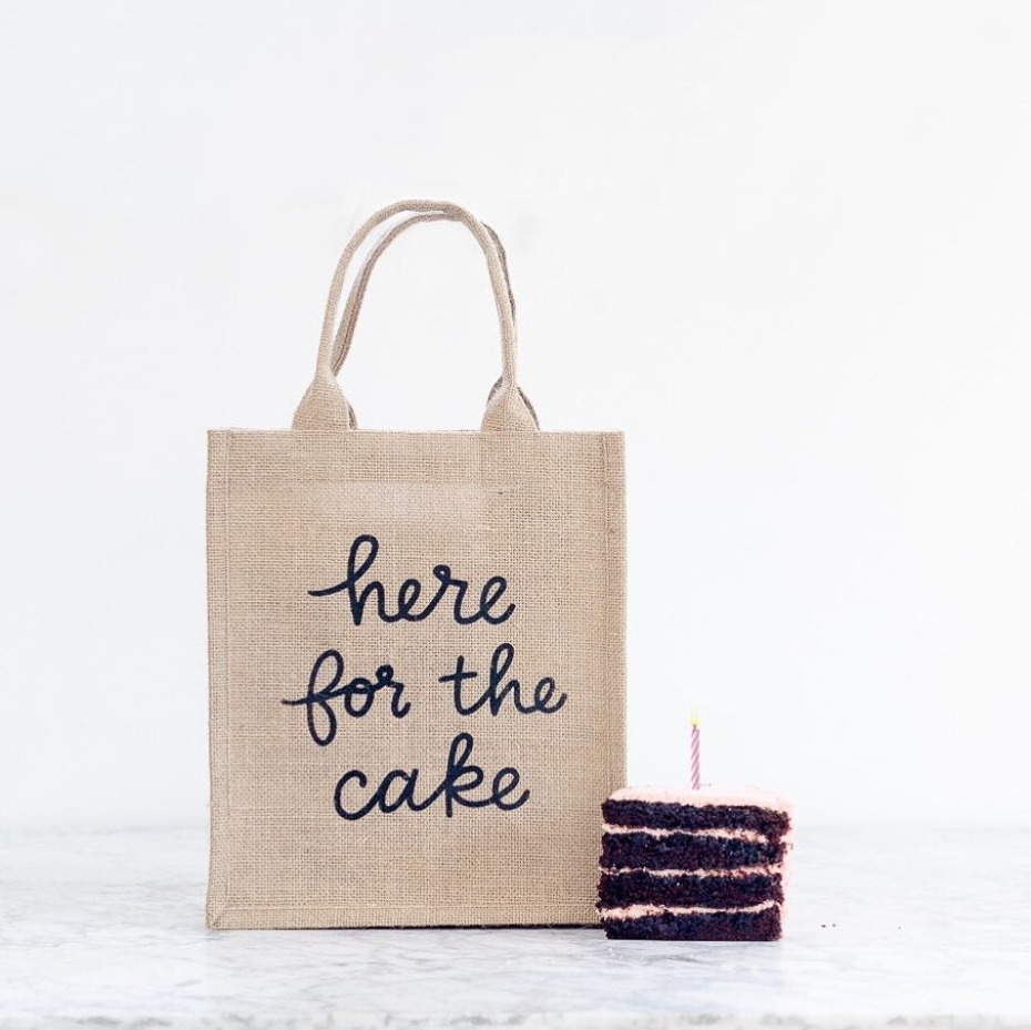The Little Market Here for the Cake Burlap Tote