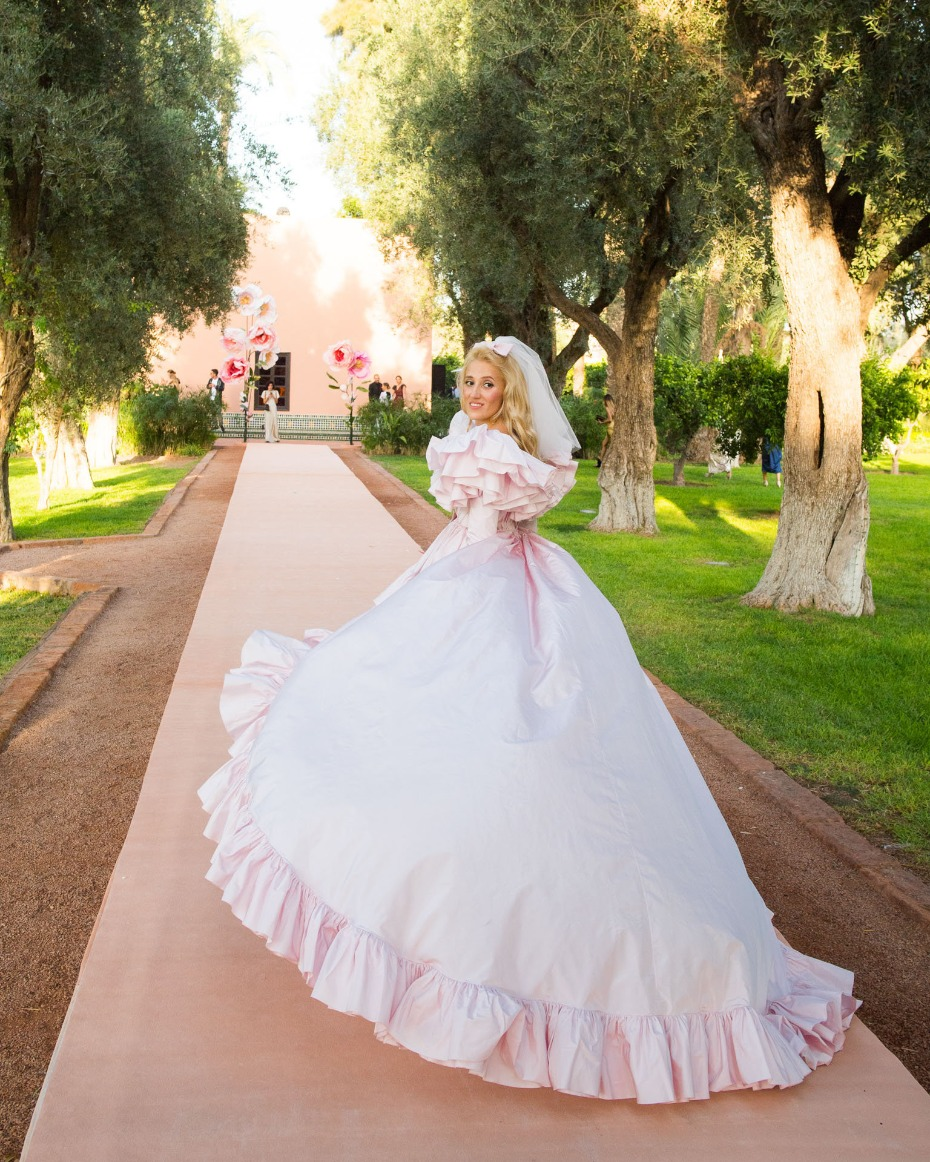 pink and ruffled wedding dress by Giambattista Valli