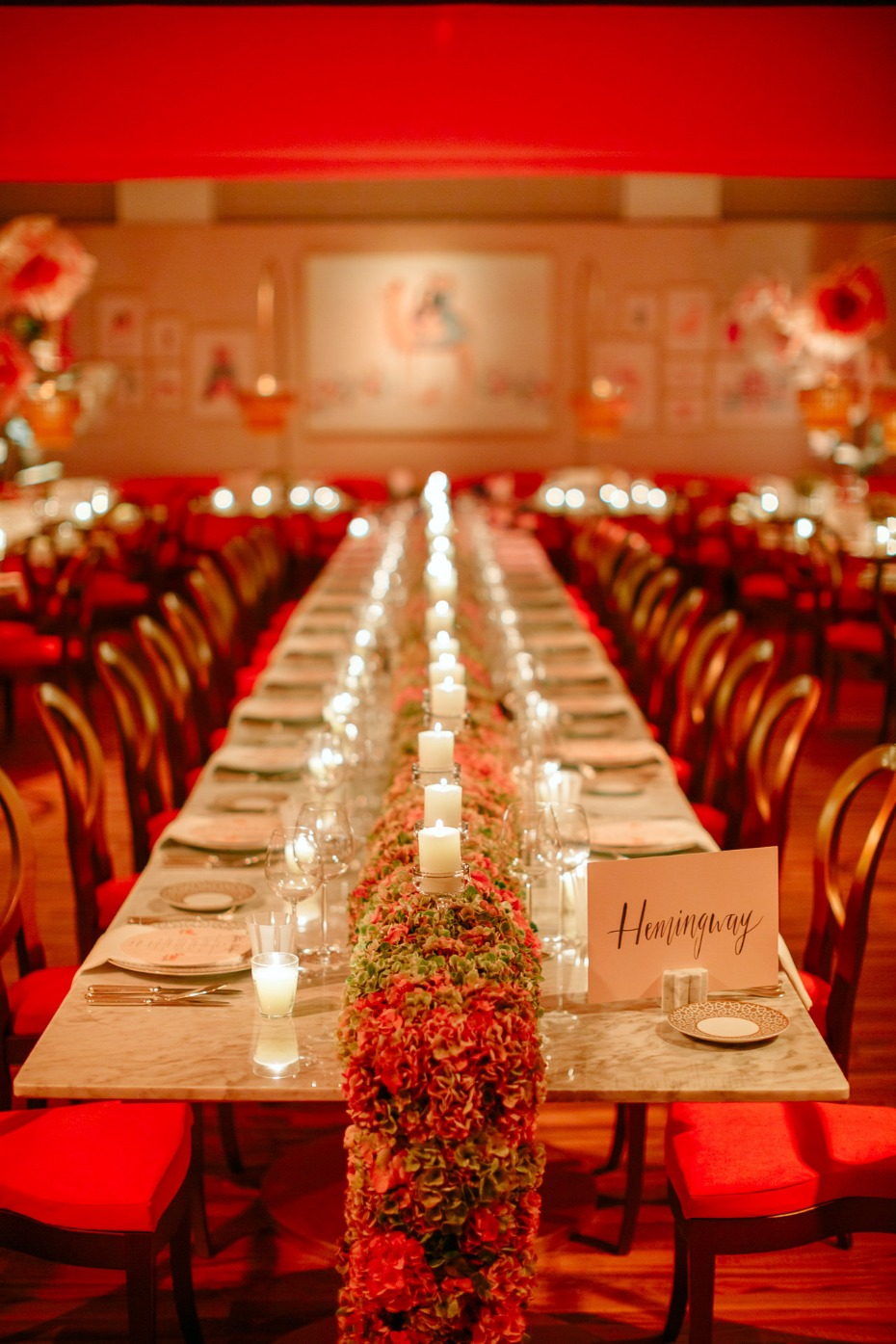 long family style table decor