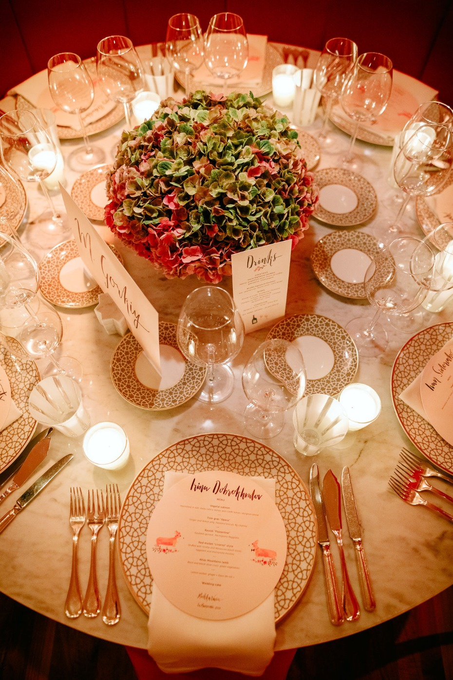 glamorous gold and white wedding table