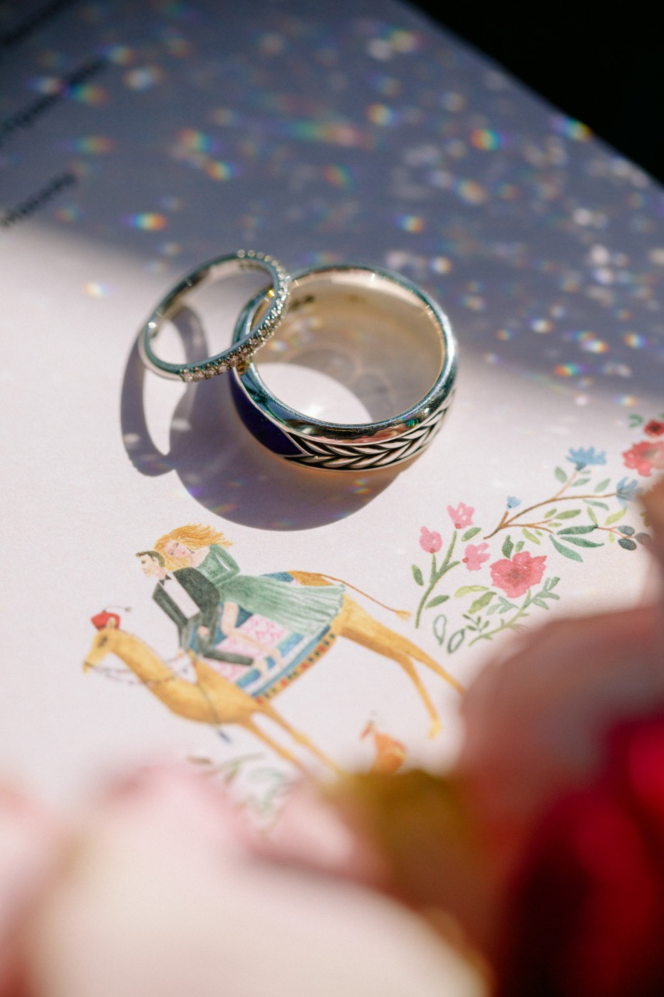 wedding rings and hand drawn wedding illustration