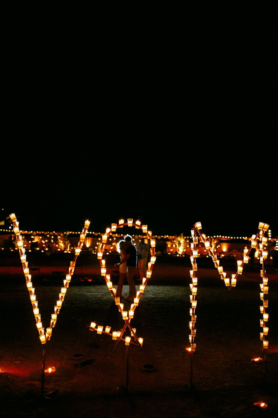 wedding couples initials in lights