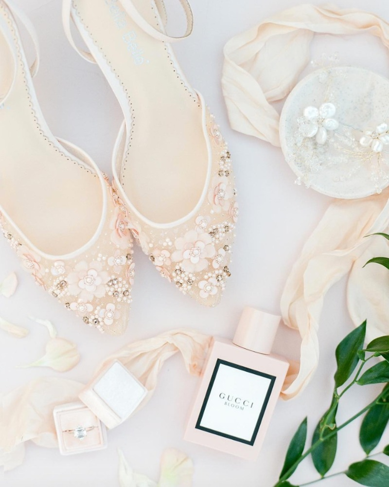 Rosa, a wedding low heel blush shoe, is prettiness filled with blooms and happy spring colors! @https://www.bellabelleshoes.com/