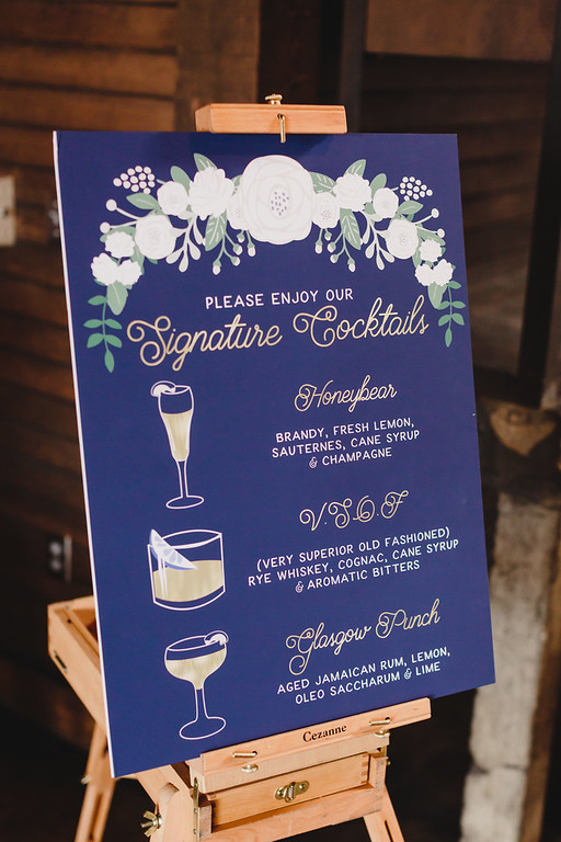 Have a couple signature drinks that you want to show off? This cocktail sign is perfect for the couple who couldn't decide on just