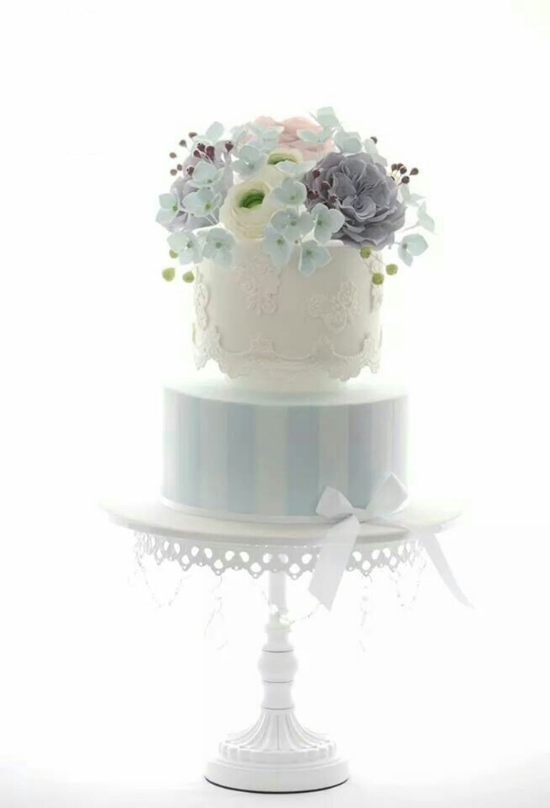 Pretty Pastels on White Chandelier Cake Stand created by Opulent Treasures