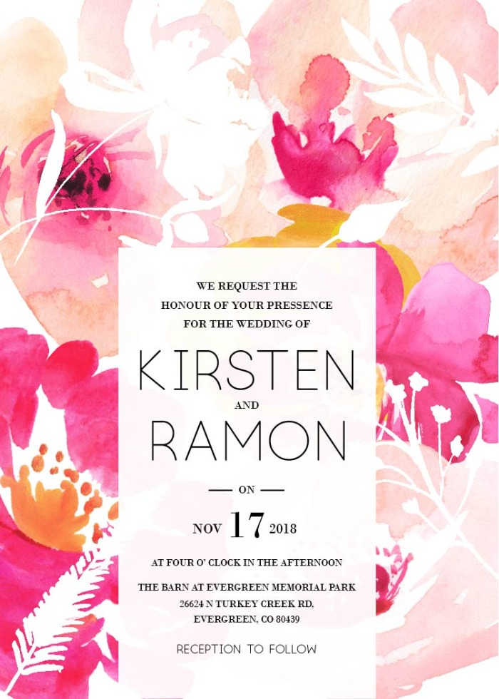 Print: Free Modern Printable Watercolor Wedding Invitation