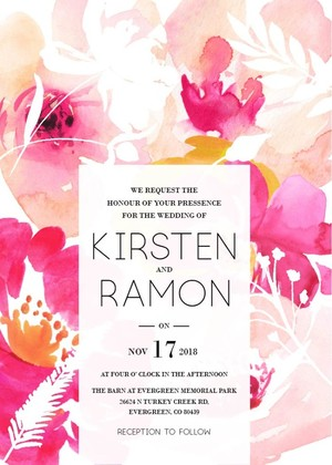 Free Modern Printable Watercolor Wedding Invitation