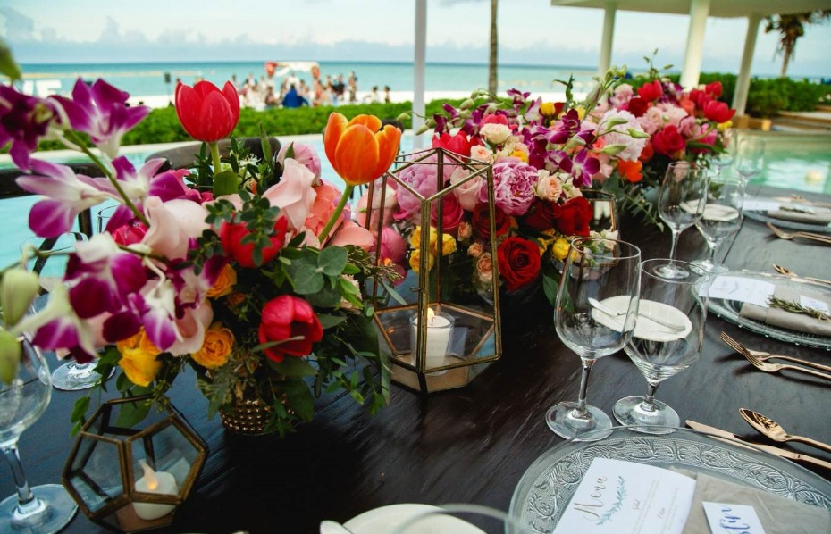 Colorful modern centerpieces