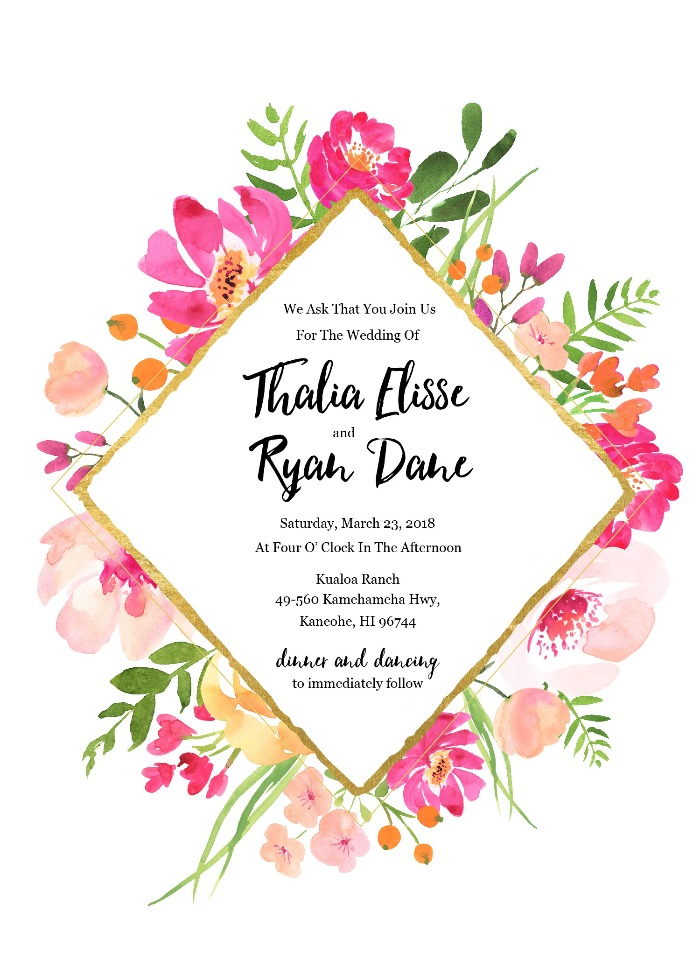 Print: Gold Floral Free Editable Wedding Invitation