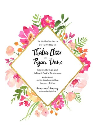 Gold Floral Free Editable Wedding Invitation