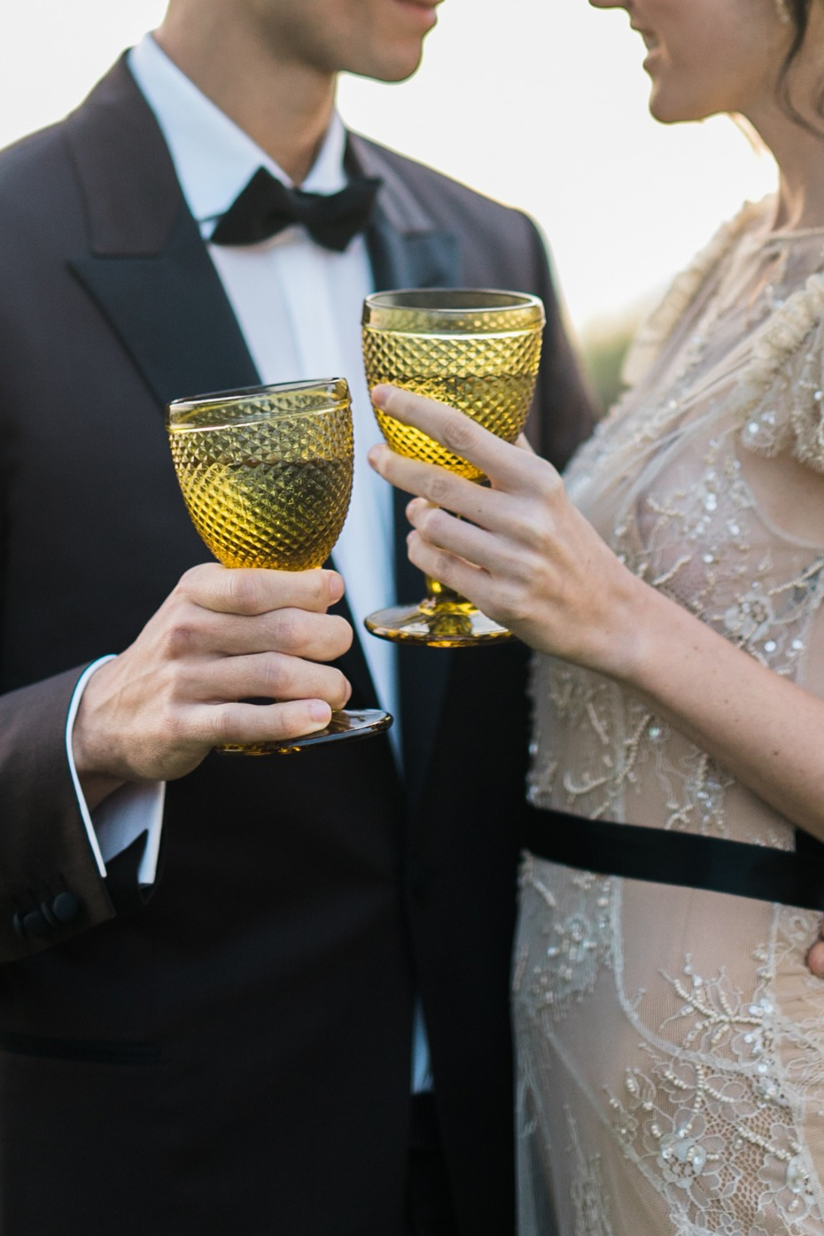 yellow glass goblets