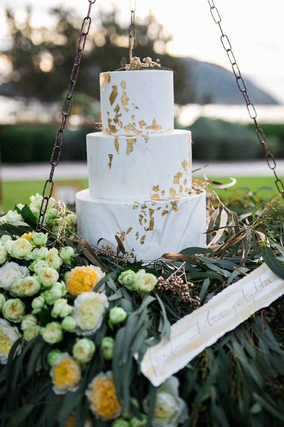 gold leaf marbled wedding cake