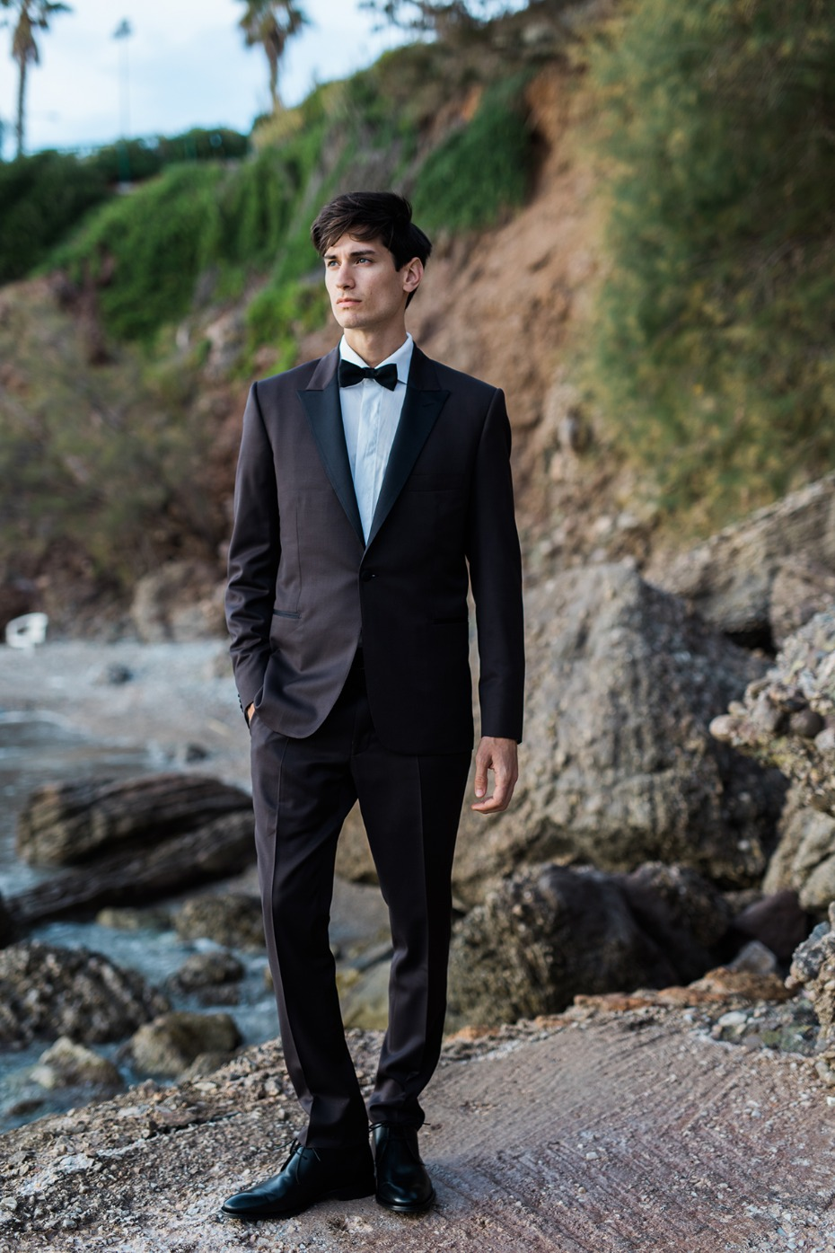 formal groom style in tuxedo
