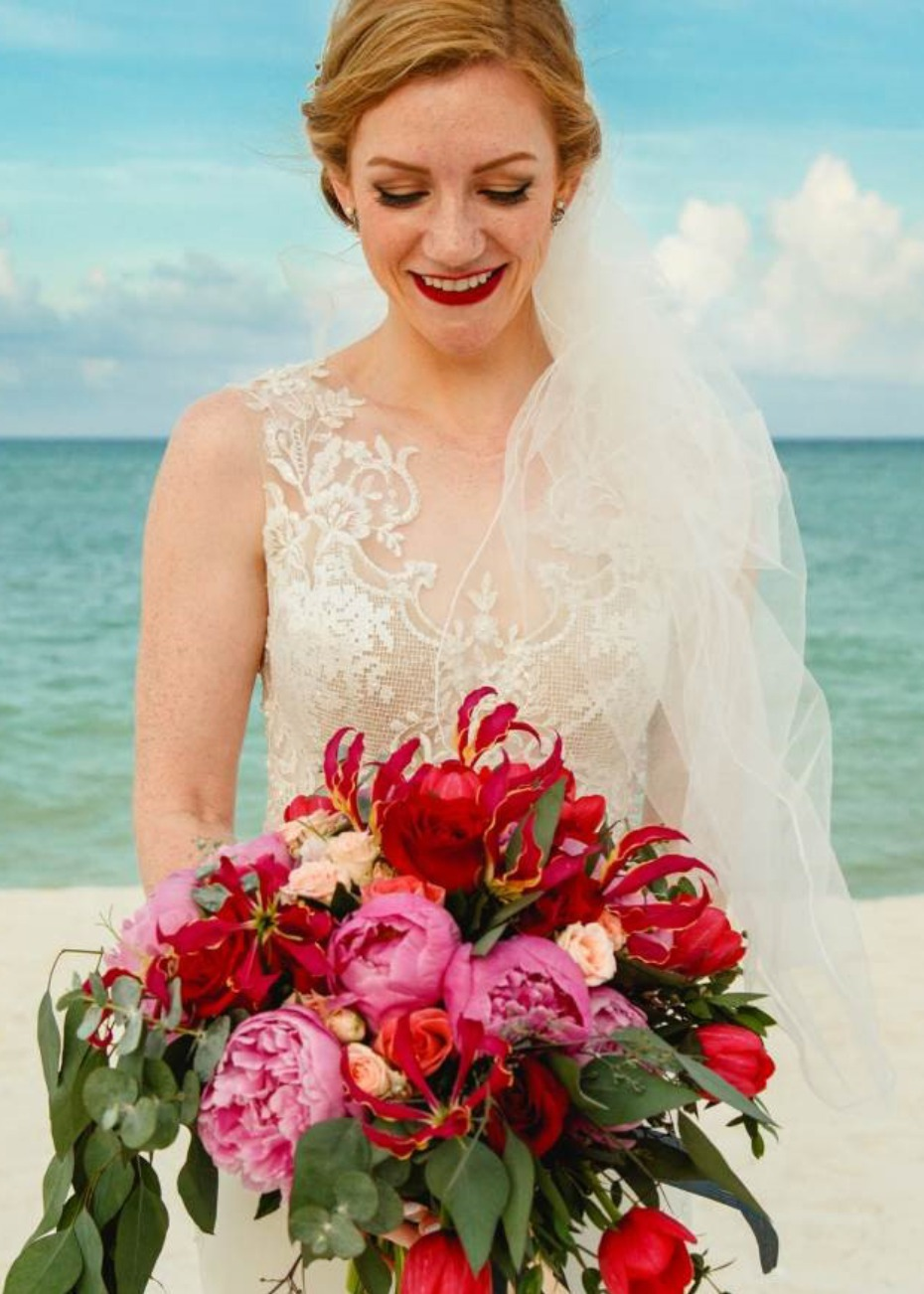 Beach bride with a pop of red