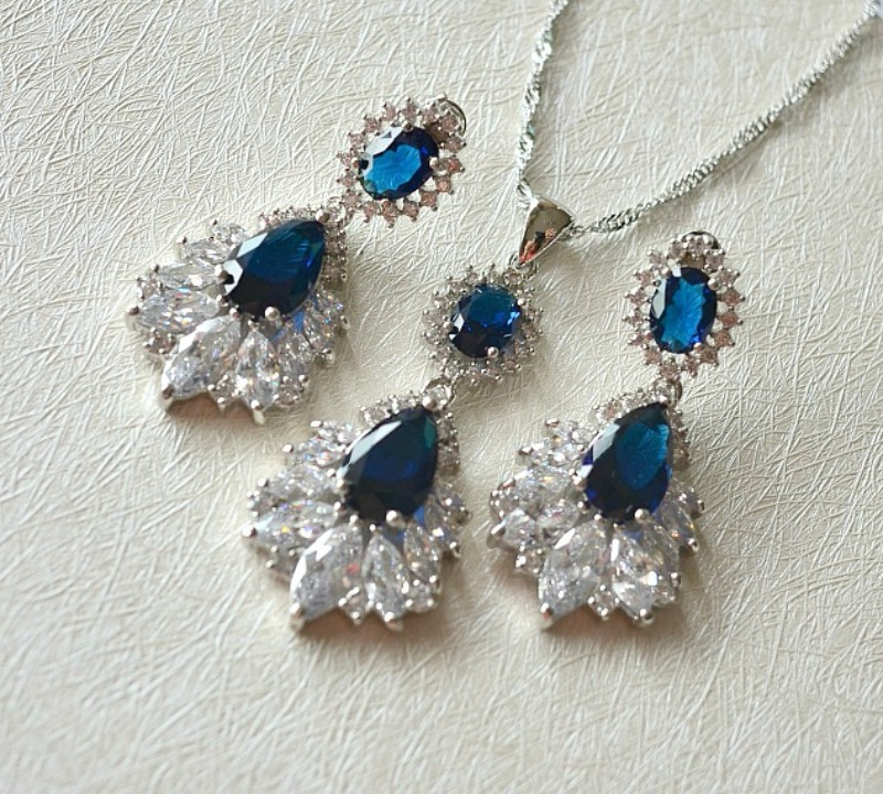 Marquise Sapphire Blue Wedding Jewelry Set. Cubic Zirconia Blue Bridal Jewelry Set. CZ Crystal Wedding Necklace Set. Bridesmaid Jewelry