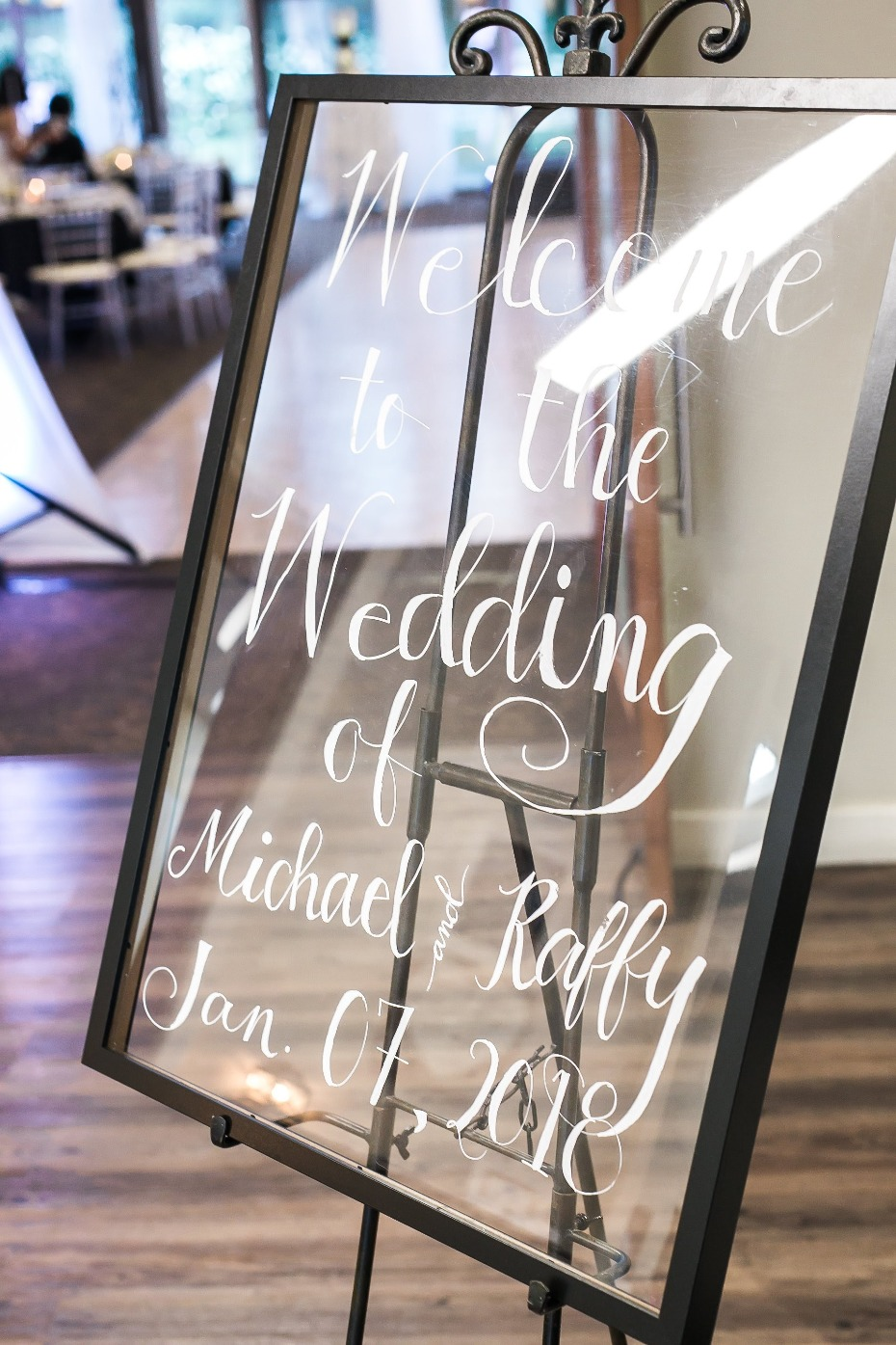 Clear welcome wedding sign
