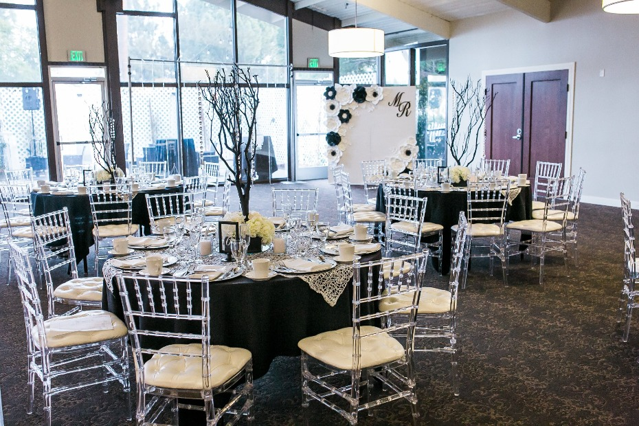 Glam black and white wedding with crystal chairs