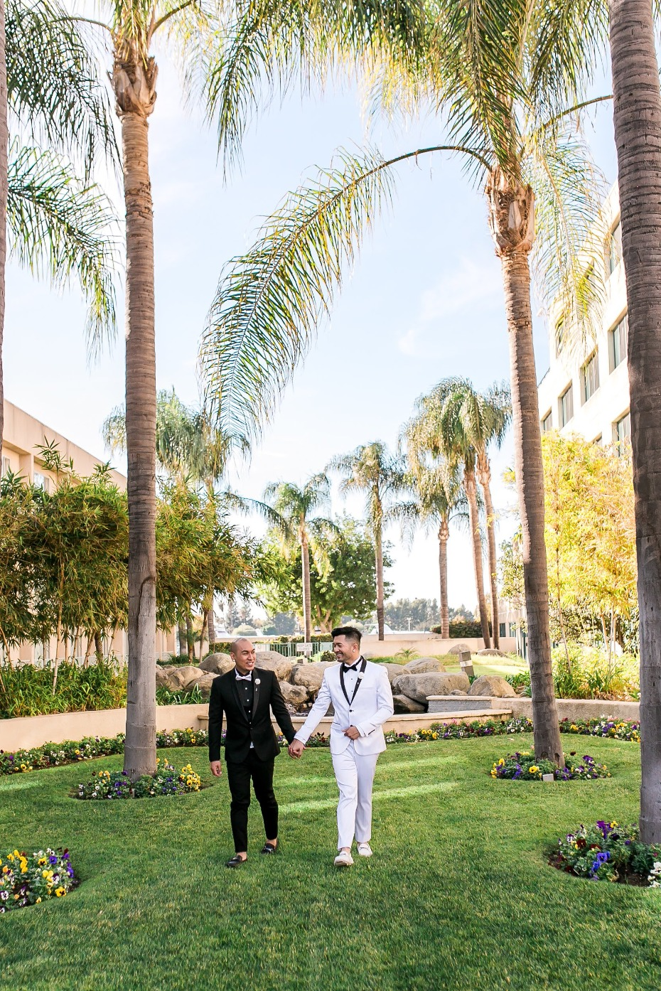 Glam black and white gay wedding