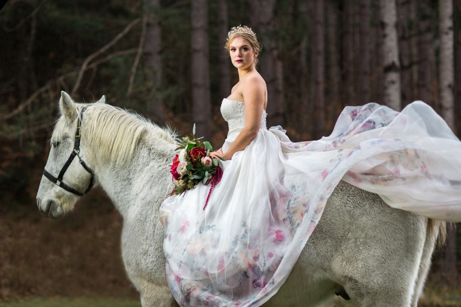 regal bride on horse back