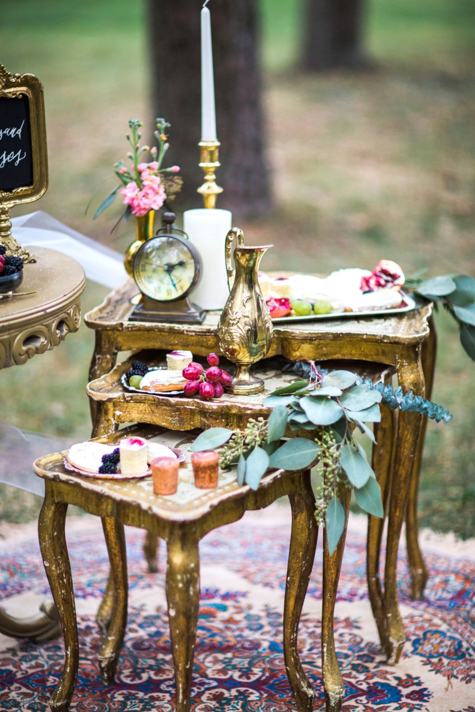 gold gilded wedding tables