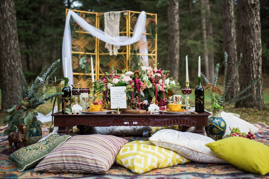 low wedding table with pillow seating