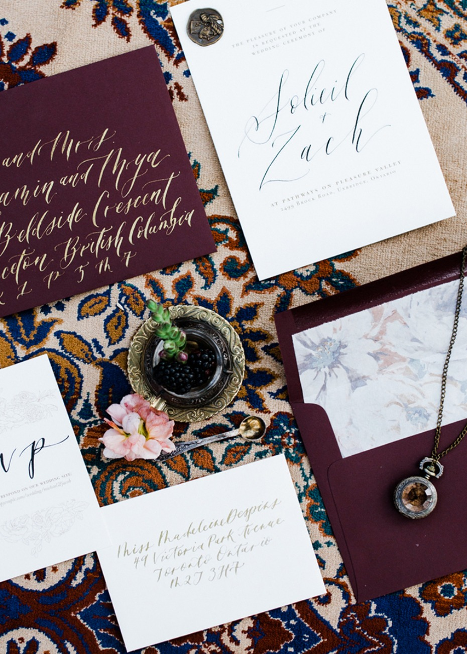burgundy and calligraphy wedding stationery