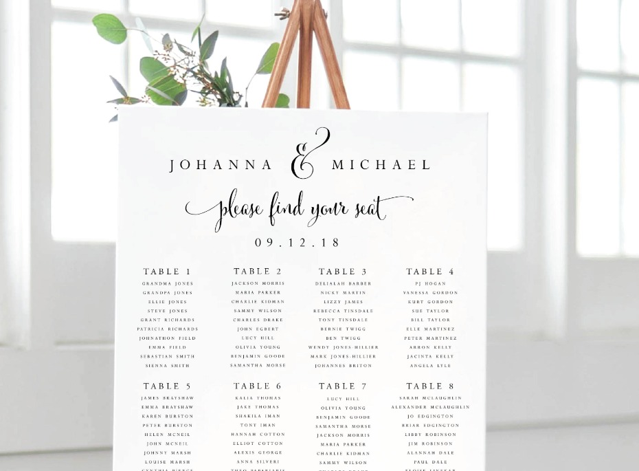 Instant Download Seating Chart