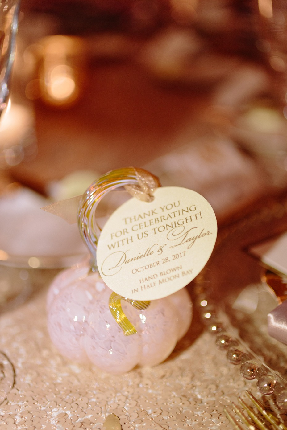 Glass pumpkin wedding favors