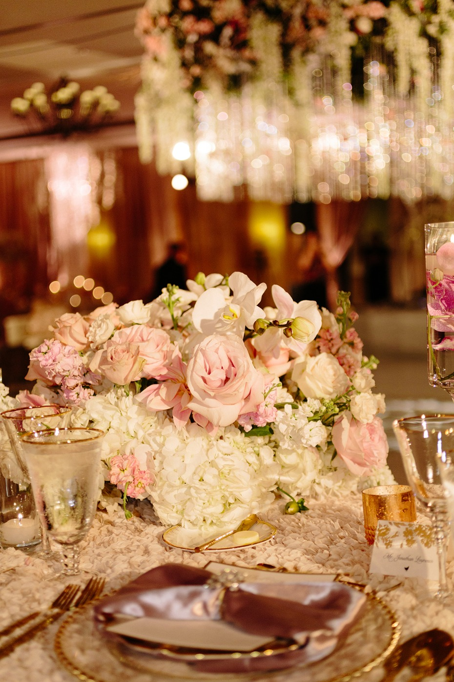Glamorous reception decor in blush and gold