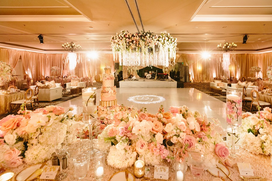 Lavish reception in blush, gold and white