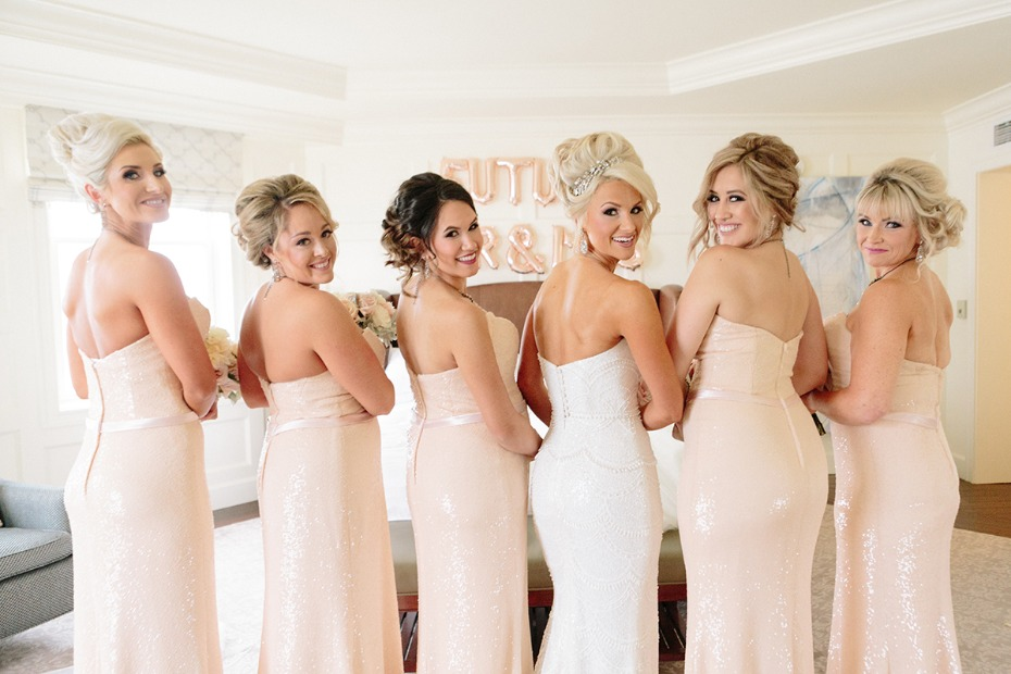 Sparkly blush bridesmaid dresses